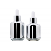 China Silver 30ml 50ml Glass Cosmetic Bottles For Person Care Products wholesale