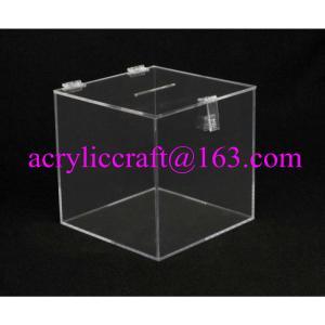 China Transparent Square Acrylic Donation Box With Lock wholesale