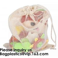 China Cotton Packing Bags For Fruit & Vegetables, Organic Cotton Mesh Bags, Drawstring Cotton Net Bags, bagease, bagplastics on sale