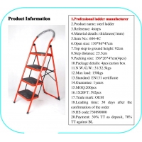 China Red 1.3m Foldable Non Slip 4 Step Steel Ladder wholesale