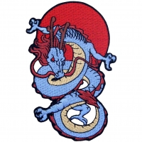 China Machine Washable Embroidered Dragon Patch With Iron On Backing wholesale