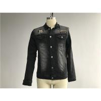 China Black Washed Badge Mens Denim Jacket And Jeans Button Through Trucker Jacket TW76375 wholesale