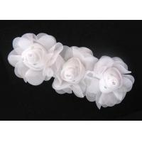 China 16cm White Handmade Fabric Flower Corsage With Rhinestone Ornament 120D Chiffon Garment Trimmings wholesale