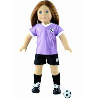 """Quality 18"""" Cute Soccer Doll Clothes Set , Purple / White Madame Alexander Dolls Outfits for sale"""