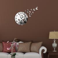 Buy cheap Butterfly 3D Wall Clock Mirror Clock Home Decoration Metal Quartz DIY Mirror from wholesalers