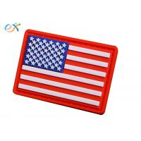 China Embossing Military USA flag Soft PVC Rubber Patch With Loop and Hook Backing wholesale