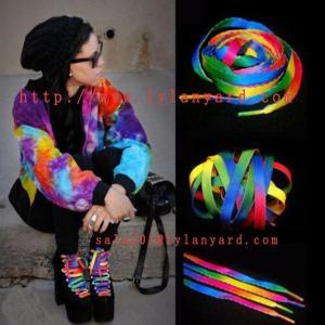 China 120cm Rainbow Multi-Color Flat Sports Shoe Laces String Straps For Unisex Rainbow Shoelace wholesale