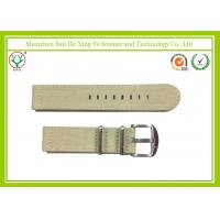 Quality Durable Khaki Canvas Watch Strap 16 - 24 mm Stainless Steel Buckle for sale