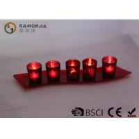 China Set Of 5 Red Glass Candle Holder With Glass Plate And LED Tealight wholesale