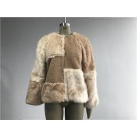 China Beige Short Ladies Fake Fur Coats , Faux Fur Tan Teddy Fur Combo Coat wholesale