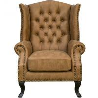 China Leisure Leather Upholstered Hotel Lobby Sofa Antique Style 24'' Arm Height wholesale