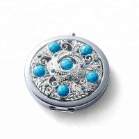 China custom make in mirror factory metal silver diamonds cosmetic mirror for girl`s wholesale