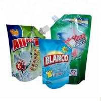 China spout pouch packaging Plastic liquid laundry detergent spout pouch washing powder packaging bag on sale