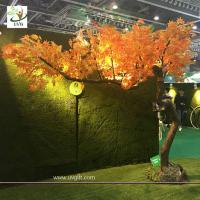 China UVG unique orange artificial maple tree with bent fiberglass trunk for indoor hall decoration GRE072 wholesale