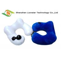 China Small Volume Inflatable Travel Pillow Soft Polyester Velvet Material For Home / Office wholesale