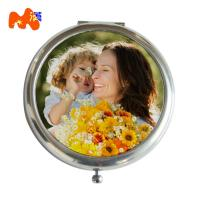 China Customized Size Sublimation Compact Mirror For Ladies Make Up Double Sides Nickel Finishing wholesale