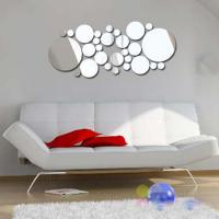 China 3D Silver Mirror Surface Geometric 28pcs Round Acrylic Wall Sticker Decor wholesale