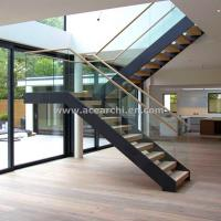 China Modern L-shape Wood Staircase Design / Internal Used Glass Railing Wood Stairs wholesale