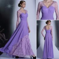 China Sell Purple Elegant long sleeve lace fashionable womens annual meeting show evening dress wholesale