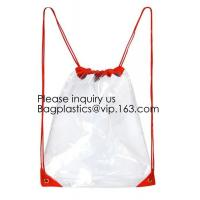 Quality Clear Cinch Bags Traveling Sport Bags,Backpack with Front Zipper Mesh Pocket for sale