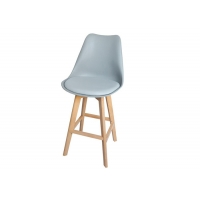 China Minimalism Cafe Shop Plastic Bar Stool Chair With Beech Wooden Leg wholesale