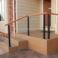 China Stainless Steel Wire Decking Balustrade with Oak Wood Top Handrail wholesale