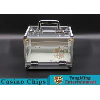 600PCS Double Open Handle Texas Chip Box / Aluminum Alloy Frame High Transparenc for sale