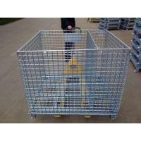 Quality foldable lockable wire mesh transport metal storage wire mesh pallet cage for sale