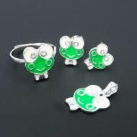 Customized Kids Silver Jewellery , Mirror Polished Animal Green Frog Jewellery