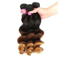 China Peruvian Hair Loose Wave 3 Tone Ombre Hair Weave , 1B/4/27 Ombre Blonde Hair Extensions wholesale