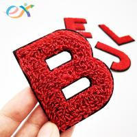 China Sew - On 100% Towel Custom Chenille Patches Embroidery Chenille Letter For Clothing wholesale