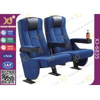 Quality High Back Heavy Spring Fixed Theatre Seating Chairs With Plastic Cup Holder for sale