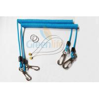China Sky Blue Stopdrop Plastic Coil Lanyard 18CM With Zinc Alloy Hooks wholesale