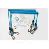 China Sky Blue Stopdrop Plastic Coil Lanyard 18CM With Zinc Alloy Hooks wholesale