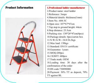 China EN131 Red 1.07cm Stainless Steel Folding Step Ladder wholesale