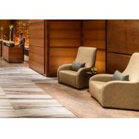China Comfortable Modern Lobby Fabric Wingback Chair With Wooden Panelling Fixing wholesale