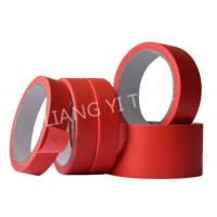 China Red Crepe Paper Paper Masking Tape Strong Holding Power / No Adhesive Residue on sale