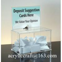 China Customed design clear acrylic ballot box with holder, perspex suggestion box wholesale