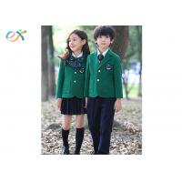 China Polyester Fabric Children School Uniform Green Jackets Skirts And Pants wholesale