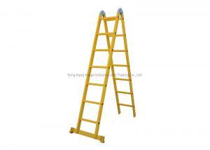 China Yellow Foldable 3m 2X5 Fiberglass Step Ladder wholesale
