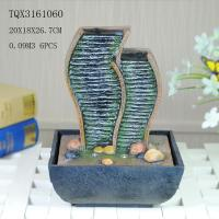 China Green Polyresin Water Fountain Tabletop Waterfall Fountain With Natural Pebble wholesale