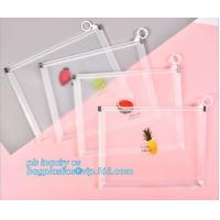 China Custom Packaging Clear PVC Jelly Bag with Plastic Slider Ziplock PVC Storage Cosmetics Packing Bag, white logo small pla wholesale