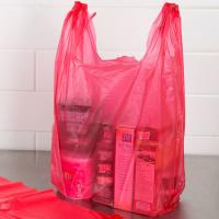 China Red Colour T Shirt Shopping Bags Unprinted Embossed Custom Made Thickness wholesale