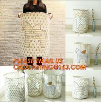 China canvas fabric collapsible laundry bag or basket with cotton handles folding laundry basket with handle wholesale