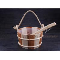 China Smoothy Carved Sauna Products Pail Bucket And Spoon Set With Liner For Dry Sauna Room wholesale