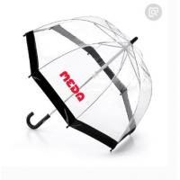 China Black Edge Clear See Through Umbrella Automatic Curved Handle 80cm Dia wholesale
