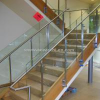 China Double Stringer Straight Staircase with Post Glass Railing and Satin s.s and Wood Tread wholesale