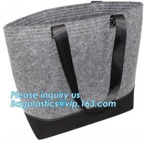 China Eco-Friendly Grey Reusable Felt Grocery Shopping Handbag Tot Bag For Women Men,Mesh bags,Shopping bags, Drawstring bags, on sale
