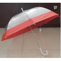 China Cute Full Coverage Clear Bubble Umbrella Pink Trim White Hook Handle Plastic Cap wholesale
