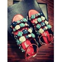 China Wholesale top 2014 new designer C-hanel flower leather  fashionable women flat sandals wholesale